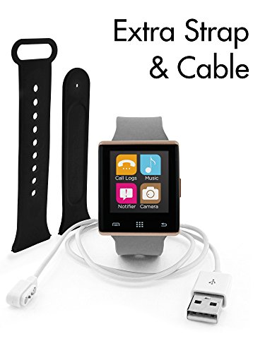 iTouch Air Bluetooth Smart Watch Additional Strap and Charger Cable (Grey/RoseGold, 41mm)