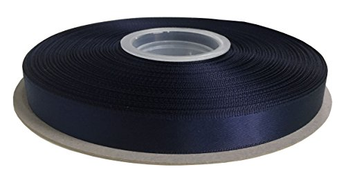 DUOQU 3/8 inch Wide Double Face Satin Ribbon 50 Yards Roll Multiple Colors Navy