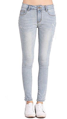 Pants Haute Denim Taille Jeans Pantalons Slim Casual Bleu Femme Leggings Lanbaosi OqZIzz