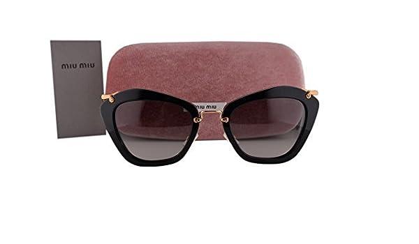 d4e61aef49bf Miu Miu MU10NS Sunglasses Black w Gray Gradient Lens 1AB3M1 MU 10NS For  Women  Amazon.ca  Clothing   Accessories