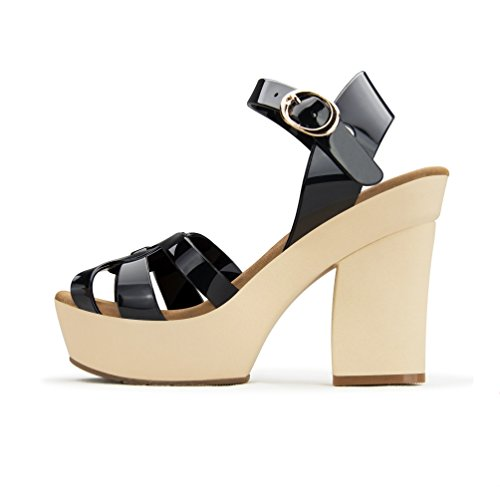 Naisten Musta Heel Nilkkalenkki Strap Piikkikorko Sexy Shoes Ankle Beige High Toe Seksikäs Pumput Kiila Haute Couture Pumps Platform Fashion Women's Black Kärki Kemia Stiletto Kengät Chemistry Open Avoin Wedge qxXTRfw