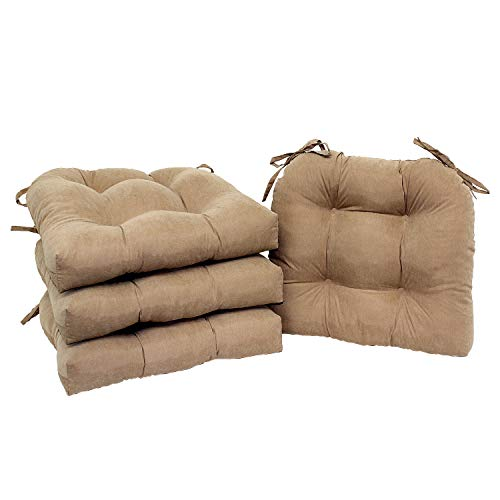 Light Brown Microfiber Cushions - Home Direct Set of 6 Natural Light Brown Microfiber Soft Plush Kitchen Dining Chair Pads Cushions