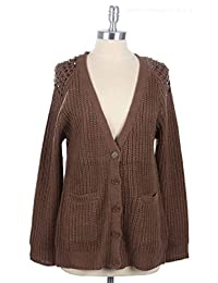 2LUV Women's V-Neck Button Up Open Knit Cardigan