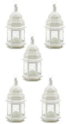 Medium White Lacy Moroccan Candle Lanterns Set of 5