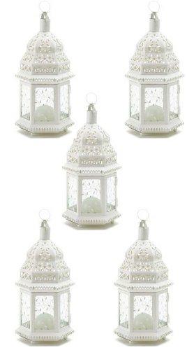 Medium White Lacy Moroccan Candle Lanterns Set of ()