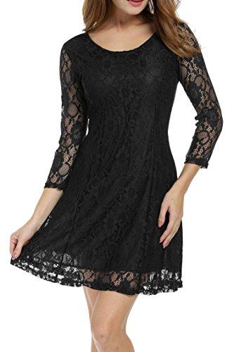 dc7b920ef40baa ... Ärmeln Mit 3 Kleid A-linie Damen Spitze Spitzenkleid Kleider Partykleid  Elegant Schwarz 4 Zeagoo ...