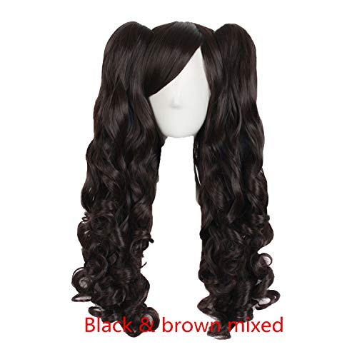 Long Wavy Cosplay Wigs 19 Color 2 Ponytails Shape Claw Heat Resistant Synthetic Hair,NC/4HL,28inches