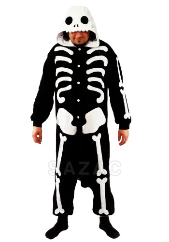 SAZAC Halloween Skeleton Onesie Costumes (Adults, Skeleton) ()