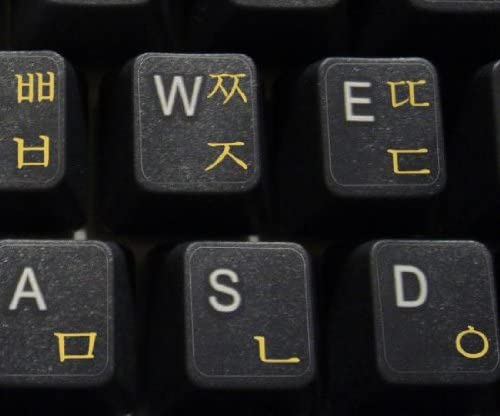 KOREAN KEYBOARD STICKER WITH YELLOW LETTERING ON TRANSPARENT BACKGROUND