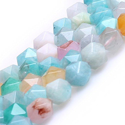 Multicolored Peru Amazonite Beads for Jewelry Making Natural Gemstone Semi Precious AAA Grade 8mm Faceted 15