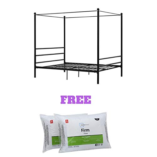 (Mainstays Easy to Assemble Modern Design Sturdy Metal Frame Four Post Canopy Bed (Twin, Black))