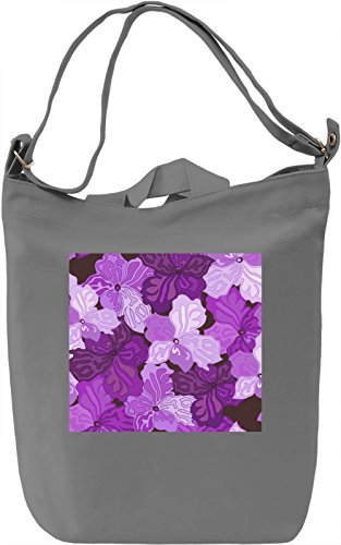 Purple Flowers Pattern Borsa Giornaliera Canvas Canvas Day Bag| 100% Premium Cotton Canvas| DTG Printing|
