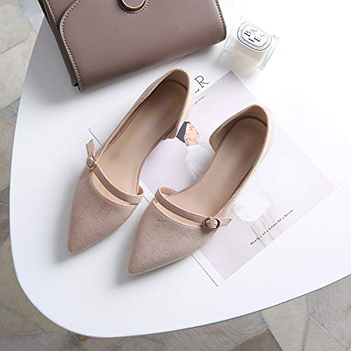 High Thick Heels Side 3Cm Tacchi Shoes Small Pink Wind Single alti Female Fairy Sweet Short Pointed Yukun Nude And Gentle With XAqzwxBx8