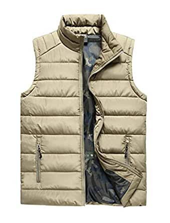 Vcansion Men's Outdoor Casual Stand Collar Padded Vest Lightweight Down Cotton Jacket Coat Vest Khaki US L