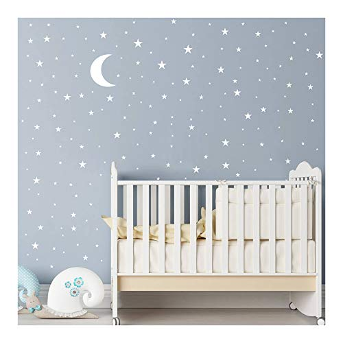 Moon and Stars Wall Decal Vinyl Sticker For Kids Boy Girls Baby Room Decoration Good Night Nursery Wall Decor Home House Bedroom Design YMX16 (White) from JURUOXIN