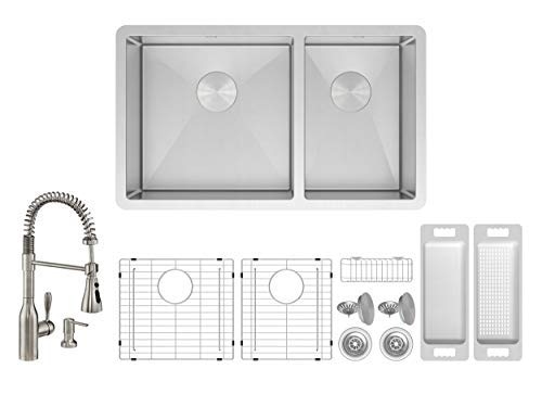 - ZUHNE Roma 32 Inch 16G Stainless 60/40 Double Bowl Under Mount Sink W. Grid Protector, Caddy, Colander, Strainer and Flux Pull Out Kitchen Faucet + Through Counter Soap Dispenser Set