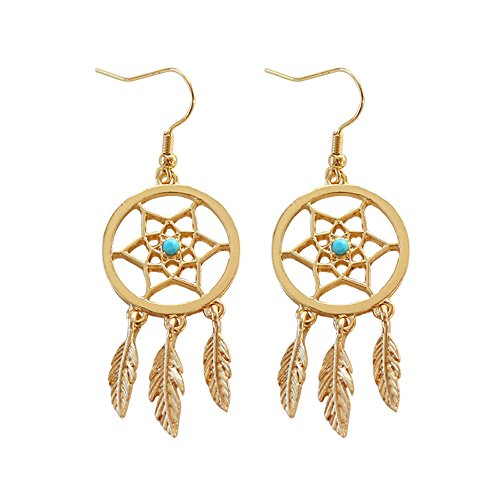 Romantic Fate Boho Golden Like Catch Dream Net Hollow Circle Inlaid Turquoise Flower Shape Dangle Leaf Pendant Hook (Genie Stem)