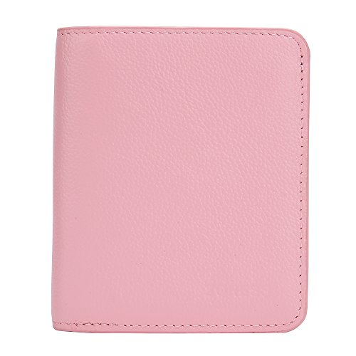 [Women's Mini Soft Leather RFID Wallet with ID Window Bifold Wallet Coin Purse Card Case (Pink Bifold)] (Pink Soft Leather)