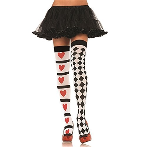 Leg Avenue - Harlequin And Heart Thigh Highs (Adult), Red, One-Size by Leg -