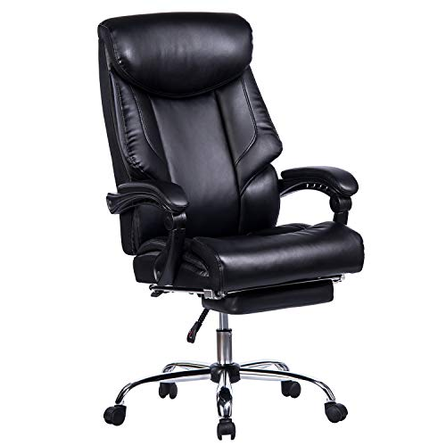 Recliner Leg Leather (VANBOW Reclining Office Chair - High Back Memory Foam Bonded Leather Executive Chair with Retractable Footrest, Adjustable Angle Recline Lock System, Thick Padding Ergonomic Design, Black)