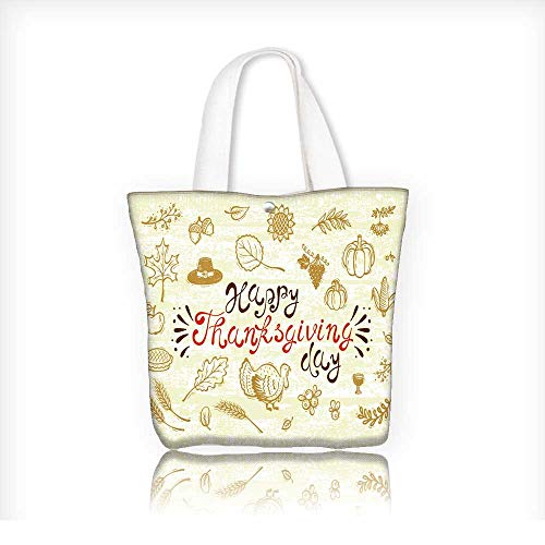tote bag for grocery shoppingcanvas bag shoppingHappy Thanksgiving Day Greeting Card Autumn Harvest symbols Fall Vector collection Doodle Turkey Bird Berries Fruit Vege 14