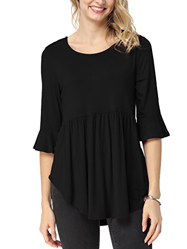 TongKiKi Women's Casual Scoop Neck Half Ruffle Sleeve Floral Tops Tunic,Black,M (Ruffle Bottom Tunic)