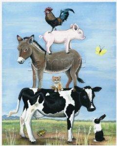 Amazon Com Farm Animal Stack Rural Country Folk Art Print