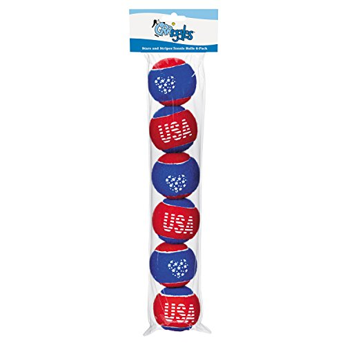 Grriggles Stars and Stripes Tennis Balls for Dogs