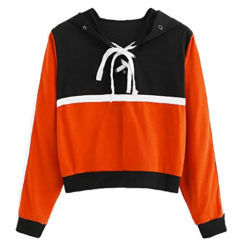 Hockey Hoody Lace - Sttech1 Women Long Sleeve Paneled Patchwork Lace Up Hooded Sweatshirt Blouse Tops