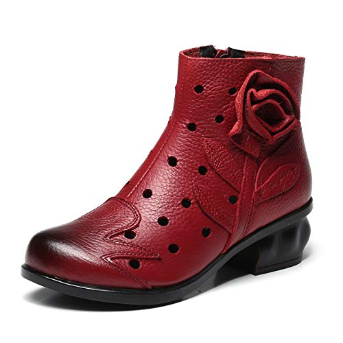 Comfort Comfort Hollow Fuxitoggo Shoes Boots Boots Zipper Dimensione Women Flower Vintage 40 Rosso Colore EU Leather out xXq8H