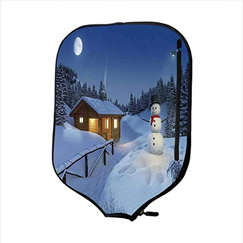 iPrint Neoprene Pickleball Paddle Racket Cover Case,Christmas Decorations,Wooden Rustic Log Cottage Scenery Winter Warm Moonlight Spirit Decor,Blue White,Fit for Most Rackets - Protect Your Paddle