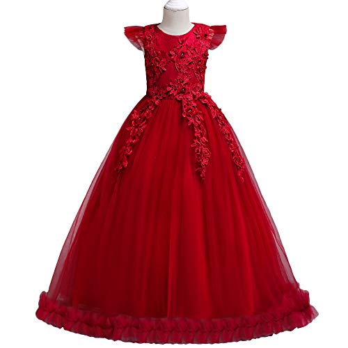 HUANQIUE Girls Pageant Party Long Dresses Flower Girl Wedding Dress Red 7-8 Years -