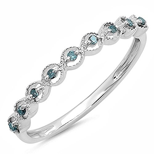 Dazzlingrock Collection 0.10 Carat (ctw) Sterling Silver Round Blue Diamond Ladies Wedding Stackable Band 1/10 CT, Size 6