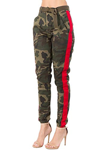 (TwiinSisters Women's High Rise Slim Fit Color Jogger Pants with Matching Belt - Size Small to 3X)