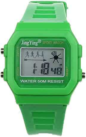 Sannysis Fashion Boy Girl Electronic LCD Digital Round Rubber Sport Wrist Watch Green
