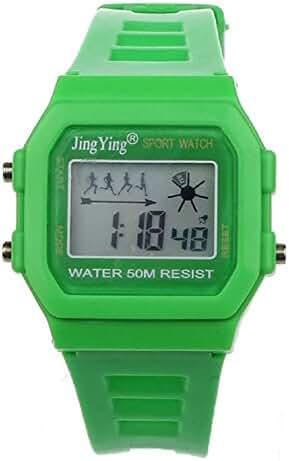 Sannysis Fashion Boy Girl Electronic LCD Digital Round Rubber Sport Wrist Watch Green