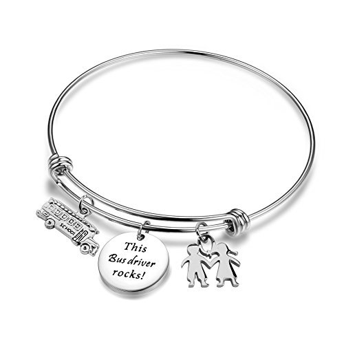 ENSIANTH Bus Driver Bracelet This Bus Driver Rocks Jewelry End of Year Gift with School Bus Charm (Bus Driver Bracelet)