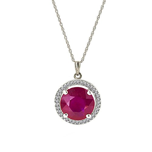 14k Solid White Rose Yellow Gold Halo Pendant Necklace with 8.7 ctw Natural Diamonds and Ruby - 5731 (white-gold, 20) (Ctw Ruby Diamond Pendant)