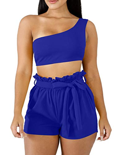 BORIFLORS Womens Sexy 2 Piece Set One Shoulder Crop Top Ruched Shorts Club Jumpsuit,Small,Royal Blue