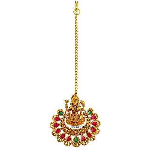 Om Jewells Bridal Temple Jewellery Gold Plated Goddess Laxmi Maang Tikka Studded with Kundan Stones for Girls and Women MT1000604 (B07PMXB2HZ) Amazon Price History, Amazon Price Tracker