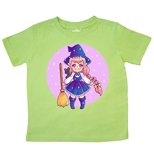 inktastic Halloween Cute Chibi Anime Witch with Cat Toddler T-Shirt 3T Key Lime -
