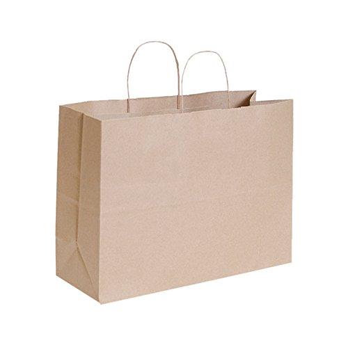 KC Store Fixtures 06204 Brown Kraft Shopping Bag, 16'' x 6'' x 12'', 250/Case (Pack of 250)
