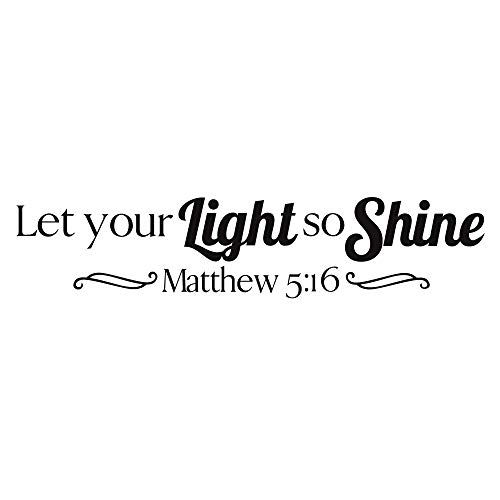 (ZSSZ Let Your Light So Shine Matthew 5:16 Religious Quotes Vinyl Wall Decal Art Lettering Wall Stickers Christian Home Décor )