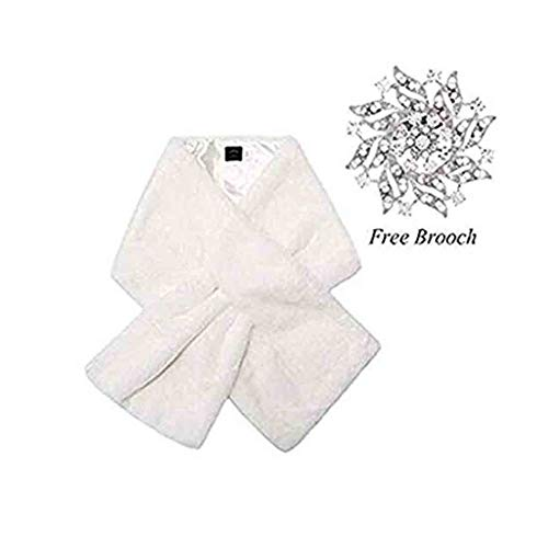 Yfe Women's Faux Fur Wraps Long Wedding Fur Shawl 1920s Sleeveless Bridal Fur Stole Scarf for Bride and Bridesmaid (White with shorter fur)