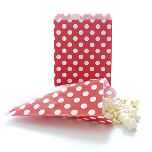 Take Home Party Favor Bag, Red Polka Dot (25 Pack) - Ideal for Baked Goods Like Brownies, Cake Bites, Cookies & Cupcakes