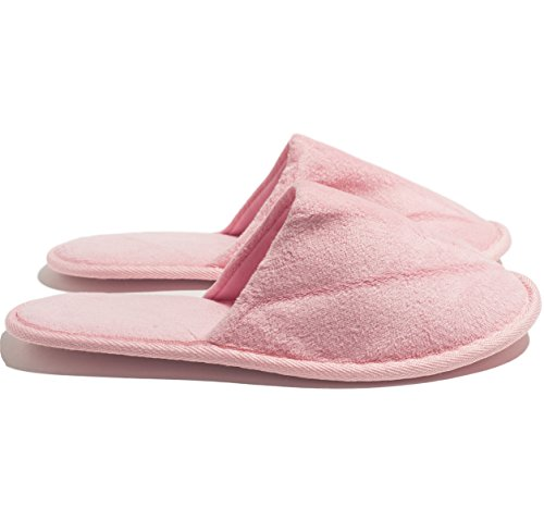 6 Zapatillas Color Terry Velour De Un Tamaño En Color Rosa