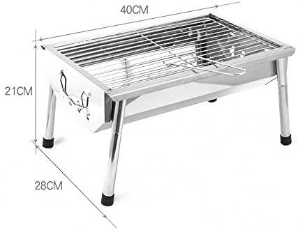 Peng Teng Barbecue Portable Mini Folding extérieur Barbecue au Charbon en Acier Inoxydable Grill, 40x28x21cm Barbecue en Plein air (Size : 40x28x21cm)