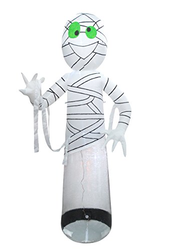Sheerlund Inflatable Mummy with Internal LED Lights - 8 Ft Tall Halloween Decoration, Approved for Indoor or Outdoor Use]()