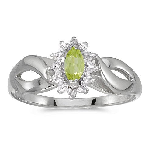 0.21 Carat (ctw) 10k White Gold Marquise Green Peridot and Diamond Solitaire Diamond Infinity Halo Promise Engagement Ring (6 x 3 MM) - Size 8 Marquise Diamond Semi Mount Ring
