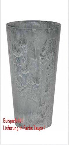 Blumenübertopf Artstone Clair Vase aus Kunststoff, sonnen-und regenbeständig für Innen und Außen, Farbe Taupe, Ø 37cm Höhe 70cm